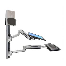 Ergotron LX Sit-Stand Wall Mount System, 45-359-026 (Polished Aluminum)