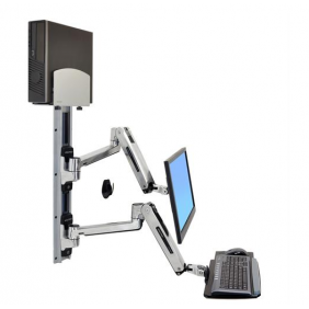 Ergotron LX Sit-Stand Wall Mount System, 45-358-026 (Polished Aluminum)