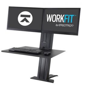 Ergotron WorkFit-SR, Dual Monitor, Sit-Stand Desktop Workstation, 33-407-085 (BLACK)