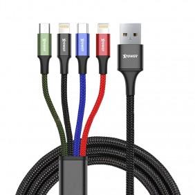 XPower Aluminium Alloy 4 In 1 Nylon Cable, XP-4X1