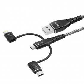 XPower K3 3 In 1 Tough Sync & Charge Cable, XP-K3-020-BK